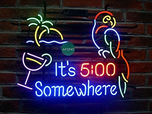 Neon bar lights for sale light collections light ideas its 5 oclock somewhere parrot real glass neon sign beer bar its 5 oclock somewhere parrot aloadofball Choice Image