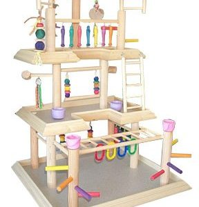 parrot play gym large for small parrots bird activity center wood tabletop play station for parrots base 24u201d x 22u201d overall height 38u201d u2013 3