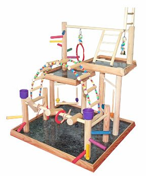 BirdsComfort-Small-Parrot-Play-Gym-Bird-Activity-Center-Wood-Tabletop-Play-Station-for-Birds-Base-21-x-20-Overal-Height-28-3-levels-0