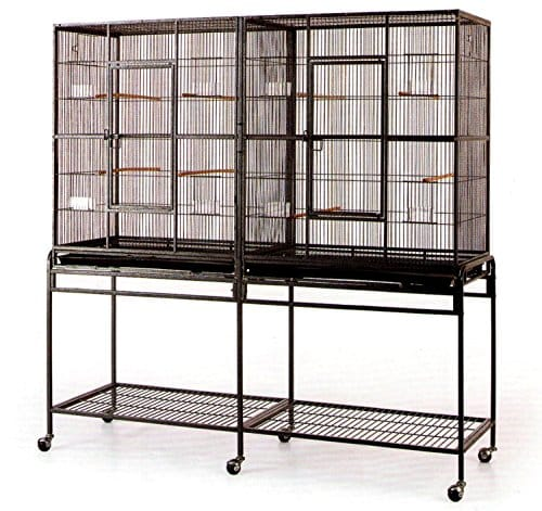 Large-Double-Flight-Bird-Wrought-Iron-Double-Cage-w-Slide-Out-Divider-3-Levels-Bird-Parrot-Cage-Cockatiel-Conure-Bird-Cage-63Length-x-19Depth-x-64Height-WStand-on-Wheels-0