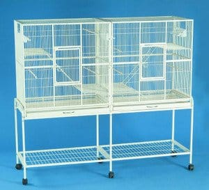 New-Large-Wrought-Iron-Double-Cage-w-Slide-Out-Divider-3-Levels-Bird-Parrot-Cage-Cockatiel-Conure-Cage-61Length-x-18Depth-x-56Height-WStand-on-Wheels-Egg-Shell-White-0