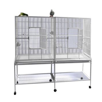 New-Large-Wrought-Iron-Double-Cage-w-Slide-Out-Divider-3-Levels-Bird-Parrot-Cage-Cockatiel-Conure-Cage-61Length-x-18Depth-x-56Height-WStand-on-Wheels-Silver-Vein-0