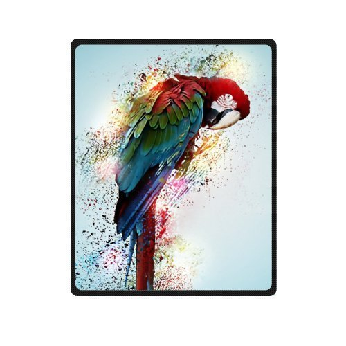 PUDA-40Wx50L-Small-High-Quality-Parrot-Art-Color-Fleece-Throw-Blanket-0