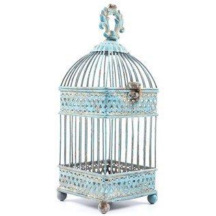 Small-Antique-Blue-Square-Iron-Bird-Cage-0-0