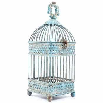 Small-Antique-Blue-Square-Iron-Bird-Cage-0