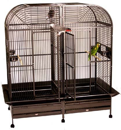 XXLarge-Double-Dome-Top-Style-Double-Parrot-Cage-With-Center-Double-Divider-64W-X-32D-X-70H-Black-Vein-0-0