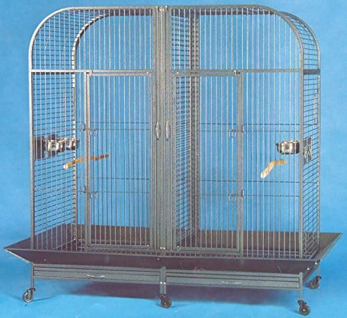 XXLarge-Double-Dome-Top-Style-Double-Parrot-Cage-With-Center-Double-Divider-64W-X-32D-X-70H-Black-Vein-0