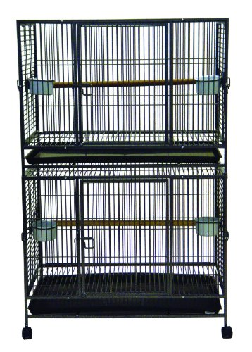 YML-WI36D-1-Inch-Bar-Spacing-Play-Top-Wrought-Iron-Double-Cage-with-Stackers-3725-Inch-by-24-Inch-by-58-Inch-Antique-Silver-0
